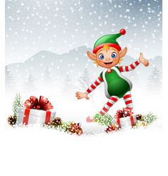 christmas background with happy elf vector image