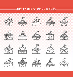Circus tent simple black line icons set vector