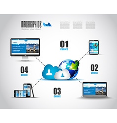 Cloud Technology Diagram with Infographics vector image