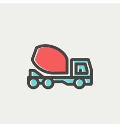 Concrete mixer truck thin line icon vector
