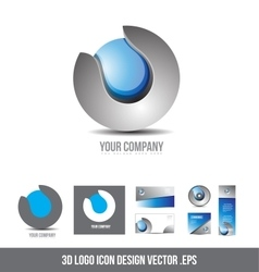 Corporate business 3d logo sphere grey blue design vector image