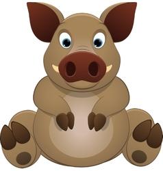 Cute little hog vector