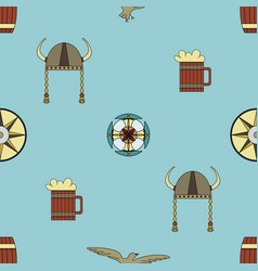 Cute seamless pattern about vikings life vector