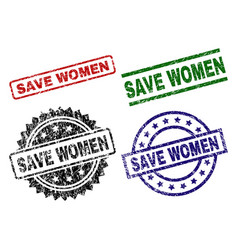 damaged textured save women stamp seals vector image