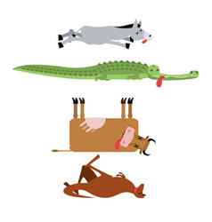 Dead animals set 3 donkey and crocodile cow and vector