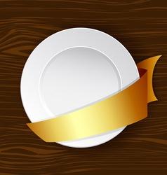dish with gold ribbon vector image
