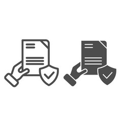 Document verified in hand line and glyph icon vector