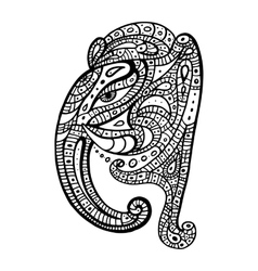 Elephant head Ganesha Hand drawn vector