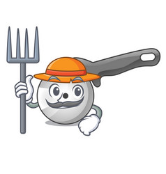 farmer pizza cutter knife cartoon for cutting vector image