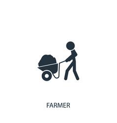 Farmer with wheelbarrow cart icon simple vector