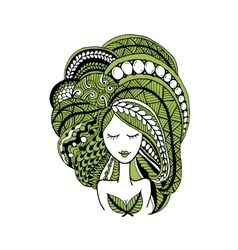 Female face ornate hairstyle for your design vector image