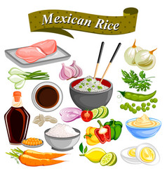 food and spice ingredient for mexican rice bowl vector image