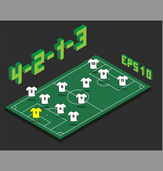 football 4-2-1-3 formation with isometric field vector image