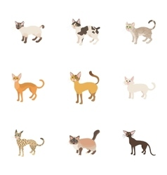 Furry friend icons set cartoon style vector