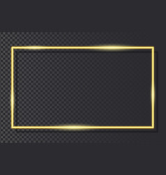 golden neon frame on transparent background vector image