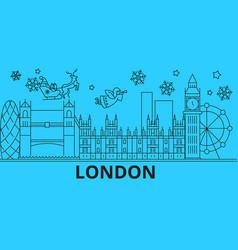 Great britain london winter holidays skyline vector