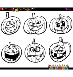 Halloween pumpkins coloring page vector