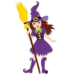 Halloween Witch with Broomstick vector