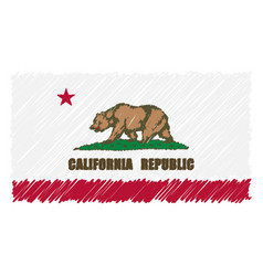 Hand drawn national flag of california isolated on vector