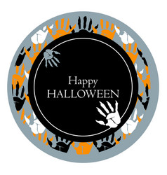 happy halloween round poster vector image