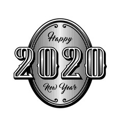 happy new year 2020 retro style emblem vector image