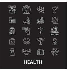 health editable line icons set on black vector image