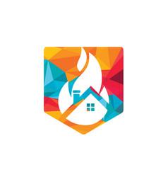 House fire logo design template vector
