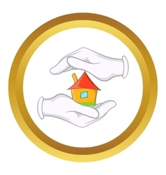 House in hands icon vector
