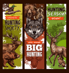 Hunt club hunting sketch banners vector