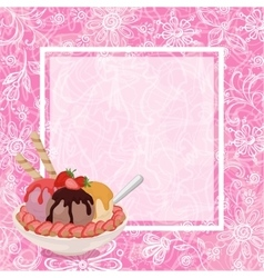 Ice cream strawberries and background vector