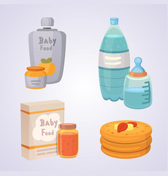 juices and purees for baby food cartoon products vector image