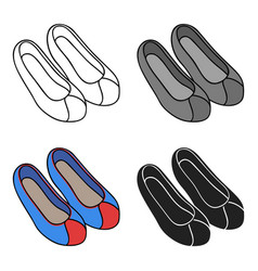 Korean traditional shoes icon in cartoon style vector