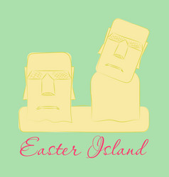 Landscape of easter island with the famous vector