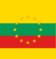 lithuania national flag with a star circle of eu vector image