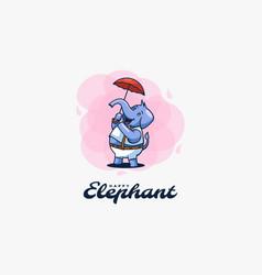 logo elephant cute cartoon style vector image