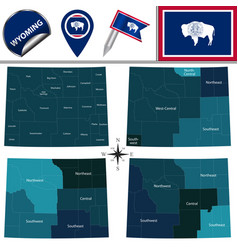 map of wyoming with regions vector image