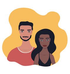 Mixed race couple portrait multi racial vector