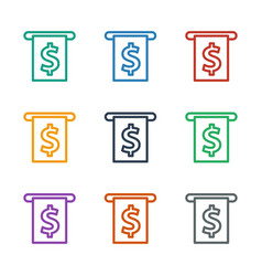 Money in atm icon white background vector