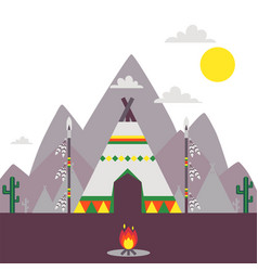 Native american indian tent traditional teepee vector