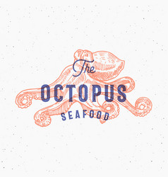 octopus seafood retro print effect card vector image