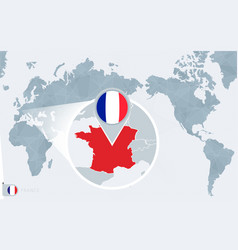 Pacific centered world map with magnified france vector