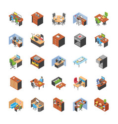 Pack of office workplace collection vector