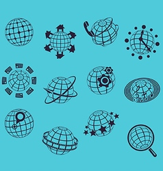 Planet flat icons vector