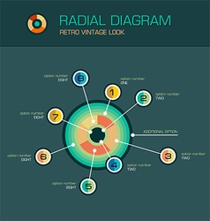 Radial diagram with beam pointers infographic vector