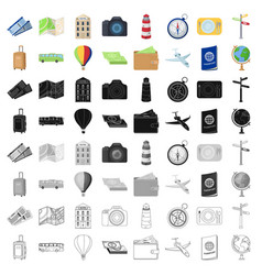 Rest and travel set icons in cartoon style big vector