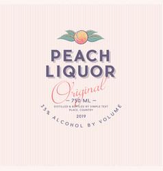 ripe peach liquor label packaging design vector image