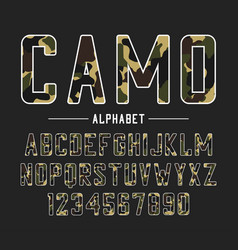 sans serif font with camouflage texture condensed vector image