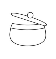 saucepan pot chicken food outline vector image