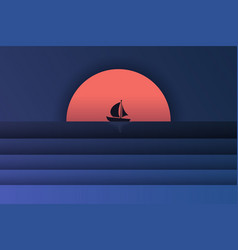 sea view and sunset in the evening with a vector image