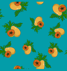 Seamless pattern papaya on azure background vector